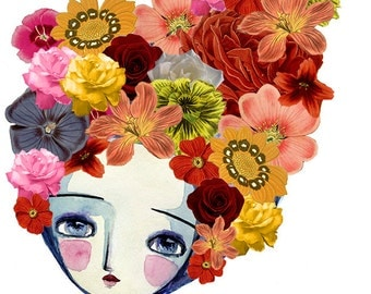 "Limited Edition ""Little Flower Girl"", Original Art Print from Andrea Sheley, Free Shipping"