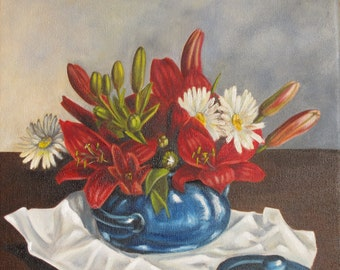 Red Lilies and White Daisies, Still Life