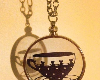 Time for tea paper cut vintage style pendant necklace