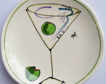 Vintage Julia Junkin Martini with Olive Small Plate