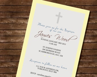 Baptism invitation DIGITAL FILE yellow gray