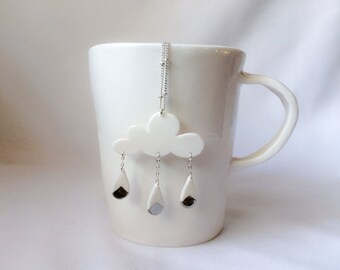 porcelain cloud and raindrops white gold/silver necklace