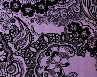 Lace in Orchid black by Alexander Henry  Half Yard