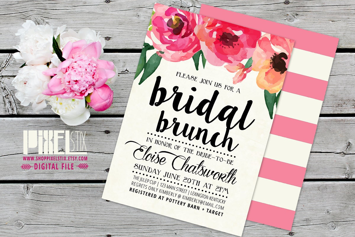 Trendy Watercolor Floral Bridal Brunch Invitation