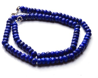 135 Carets 17 Inch Long Strand-Super-AAA Quality, Lapis  Lazuli  Micro Faceted Rondells Beads Necklace 5.5 TO 6 MM Size
