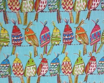 Sitting Pretty Bird Upholstery Fabric - Whimcical Bird Fabric - Upholstery Fabric By The Yard