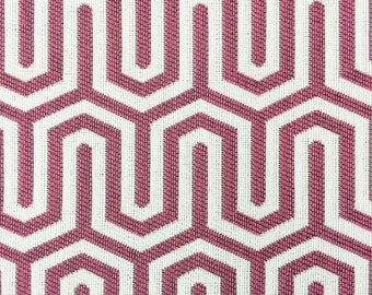 Raspberry Modern Geometric Linear Illusion Fabric - Upholstery Fabric By The Yard