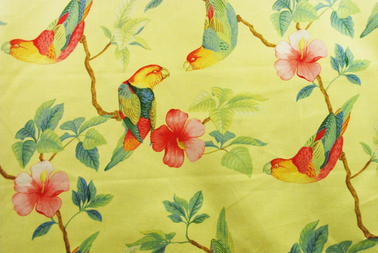 Fabric Sale Yellow Tropical Birds And Flowers Home Decor
