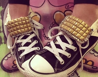 Black Converse High Tops Custom with Gold Studs - Chuck Taylor - ALL SIZES & COLORS!!!