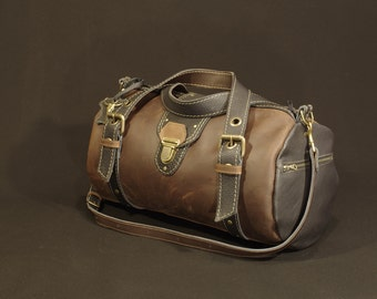 handbag, travel bag, leather, brown and black,