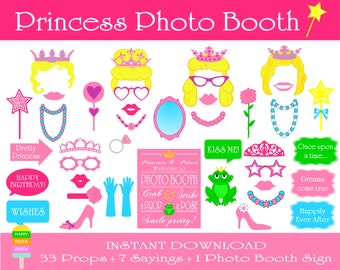 PRINTABLE Princess Photo Booth Props-Photo Booth Sign-Printabe Princess Props-Printable Princess Birthday Party Props-Instant Download