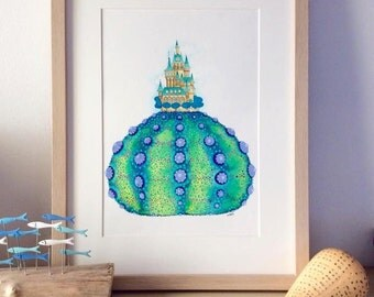 Illustration watercolour original- Urchin Castle Painting - Castle by the Sea Urchin Painting - Castle Watercolour Painting - Original