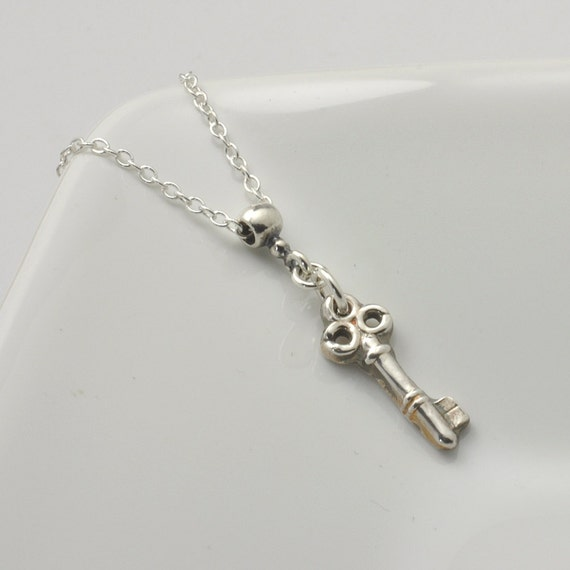 18th Birthday Cz T Bar Sterling Silver Heart Bracelet Can: Tiny Key Necklace Pure Silver Key Necklace Small Key