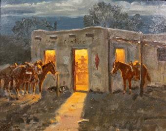 "Original Oil Painting : Ron Stewart Oil Painting, Original Ron Stewart Oil, ""Good Times"" Signed Ron Stewart Western Art, Ron Stewart, #705"