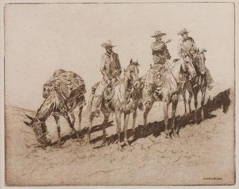 "Fine Art Etching : Edward Borein, Cowboy Artist, ""Grass Hunters No. 1"". #332"
