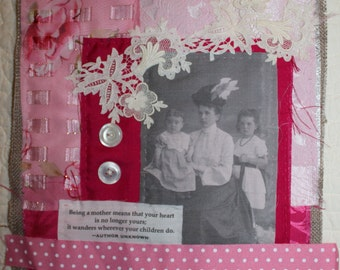 Vintage Fabric and Lace Collage-Mother, Valentine's Day