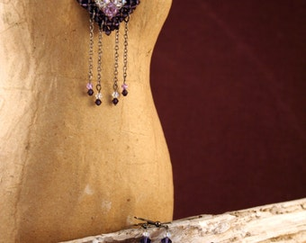 Unique Handcrafted Purple and Black Swarovski Crystal Wired Statement Necklace