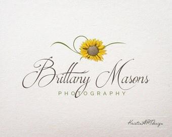 Sunflower logo design, Premade logo, Photography logo, Flower logo, Yellow logo, Hand-written logo, Watermark 156