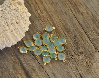 10mm Gold Plate  Bezel Connector Stone Aqua Chalcedony Gemstone 2 loops