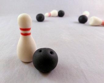 Sugar bowling cupcake decorations, gumpaste bowling ball and bowling pin set, bowling party, bowling alley birthday party
