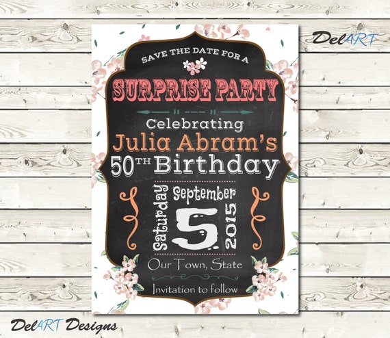 Birthday Party Save The Date Invitation Card By DelARTDesigns