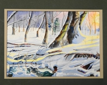 "Original watercolor ""Snowy stream""-forest-winter-sunrise sunlight on snow-old trees- winter stream- fallen trees"
