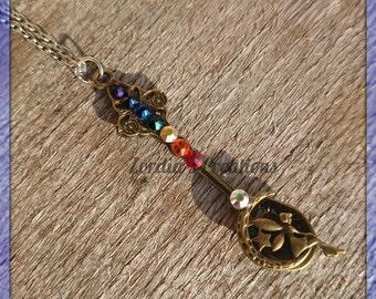 Chakra pendant,  Moon Fairy,  Spoon Pendant, metaphysical necklace,  spoon necklace, Bronze Spoon, Chakra Fairy, Bronze Spoon Pendant