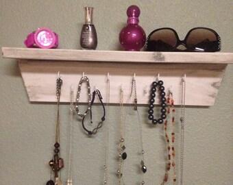 Nice white shelf perfect for jewelry, necklace holder, shelf organizer, shabby chic, wood key holder with cup hooks jewelry organizer