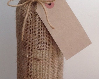 Hessian Wine Bags with Lace Trim and Vintage Labels x 2