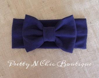 Navy Blue Cozy Bow Headwrap