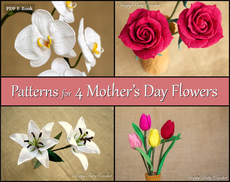 Crochet patterns bundle mother s day flowers
