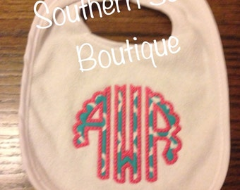 Scallopped Appliqué Monogrammed Bib