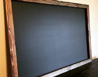 """Magnet Board, Rustic MAGNETIC Chalkboard 24""""x36"""", Long Chalkboard, Rectangle Chalkboard, Office Chalkboard, Kitchen Chalkboard"""