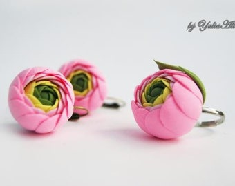 Earrings and ring with Ranunculus, Summer earrings, Flowers earrings, Pink flowers, Colorful earrings, Ranunculus earrings