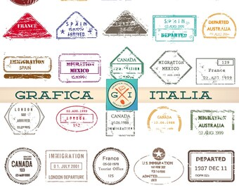30 International PASSPORT STAMPS -  Digital Printable Collage Sheet - Vintage Travel Clipart - Instant Download Scrapbooking - PS-002