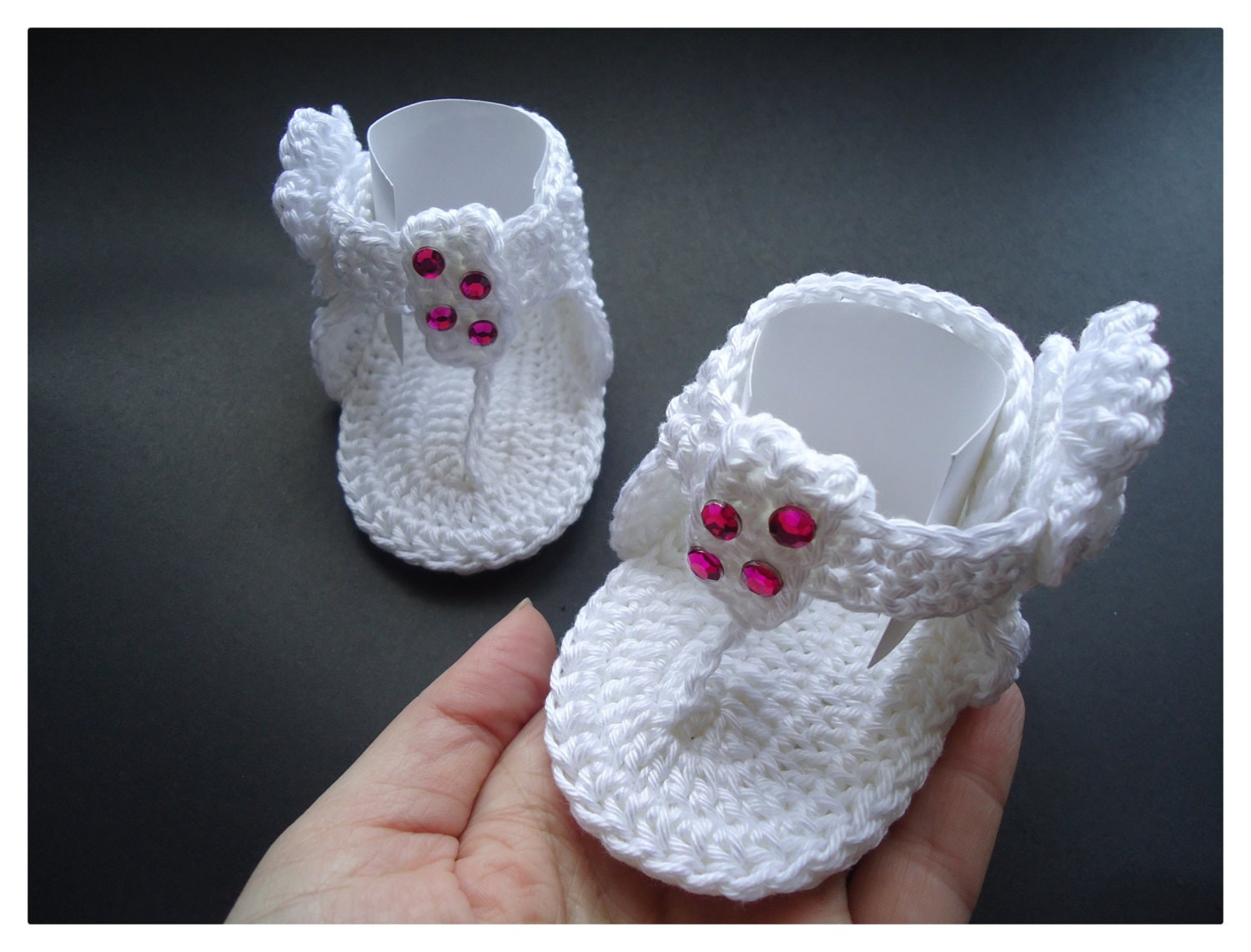 Pics Photos - Baby Crochet Shoes Sandals Flip Flops Navy And Bright ...
