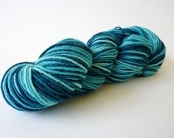 Hand Dyed Yarn - Mini Skein Sock Yarn - Superwash Merino Wool - Blue