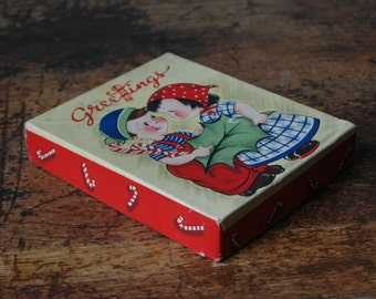 1930s-40s Paper Cardboard Box Greetings Christmass Greeting Boy & Girl Red White Candy Cane Peppermint Stick Design Christmastide