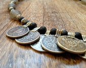 Coin and Recycled Glass Necklace