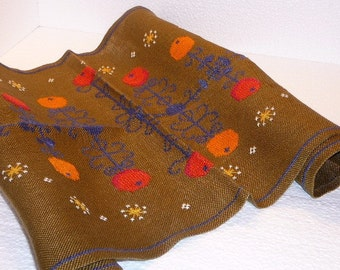 Embroidered Table Runner, Brown with Red Yellow Apples, Holiday Decor, 80 cm x 40 cm / 31,4'' x 15,7'', Scandinavian Table Cloth @95