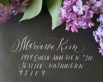 Magnolia Style; Wedding Envelope Calligraphy; Hand Addressed