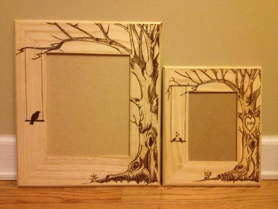 Wood burned picture frame do custom orders too lovebirds for Handmade wall frames ideas