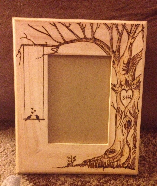 Wood burned picture frame do custom orders too. Lovebirds