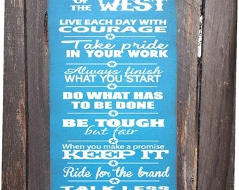 Code of the West Sign, Cowboy Sign, Country decor, cowboy decor, country living, funny cowboy