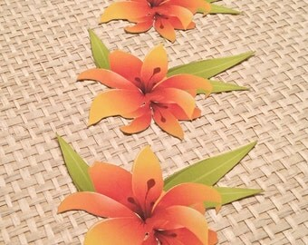 Orange Paper Lily Flower for Scrapbook Embellishment, Card Making