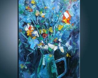 Original Painting Blooming Flower in Vase Painting Flower Painting Large Painting Impasto Texture Painting Palette Knife Oil Painting