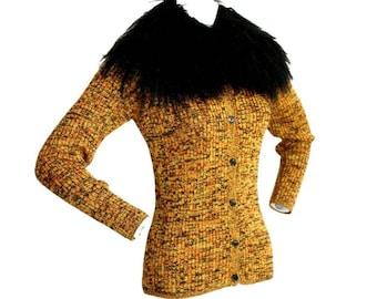 Vintage Yves Saint Laurent Fourrures Mongolian Lamb Sweater Cardigan / Gorgeous Vintage YSL Fur Cardigan / Oversized Collar Beautiful Colors