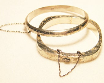 Pair of Vintage Etched Sterling Silver Bangles