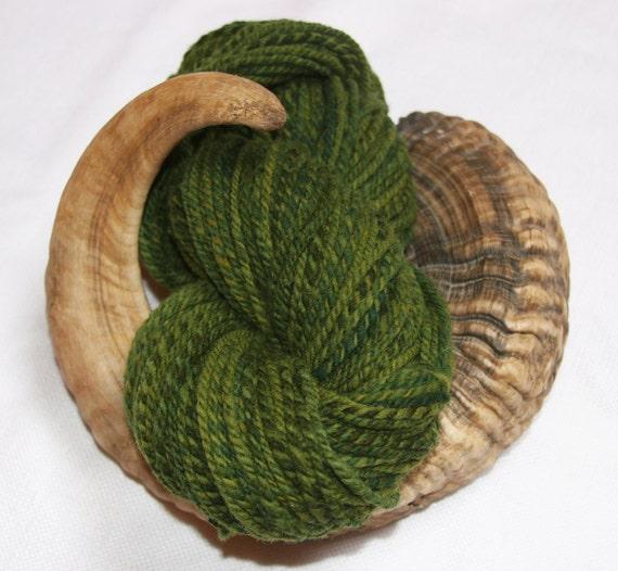 Hand Dyed Hand Spun  Hog Island Yarn - Green Pastures