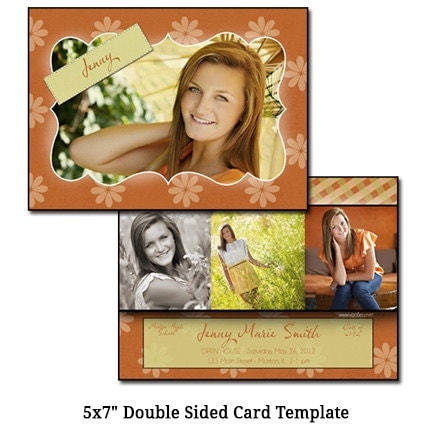 5x7 double sided card template flowers digital file. Black Bedroom Furniture Sets. Home Design Ideas